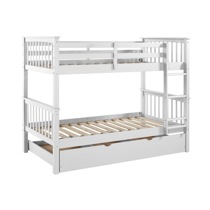 Off White Solid Wood Twin Over Twin Bunk Bed With Trundle Violet Rc Willey