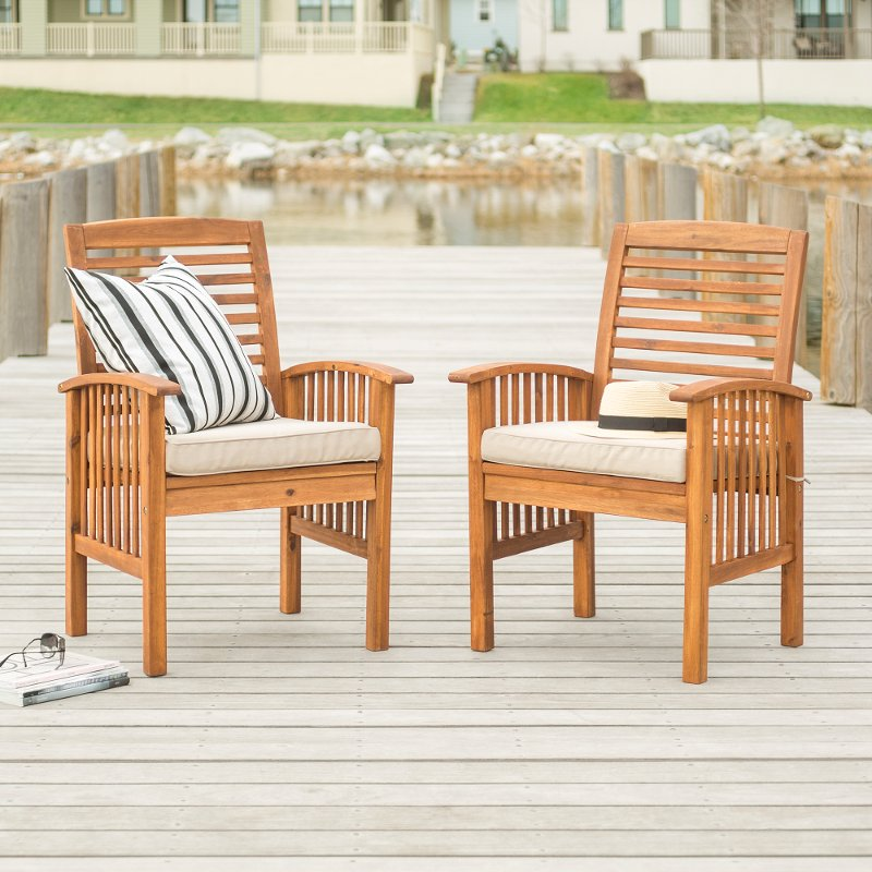 Acacia Wood Outdoor Patio Chairs With Cushions Set Of 2 Midland Rc Willey Furniture Store