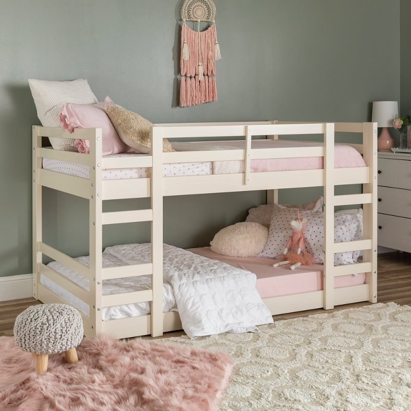 Contemporary White Low Twin Over Twin Bunk Bed Lawson Rc Willey Furniture Store