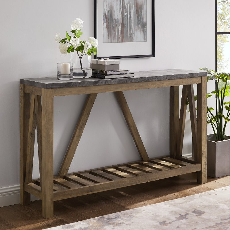 Dark Concrete 52 Inch Entryway Table Modern Farmhouse Rc Willey - What To Put On An Entryway Table