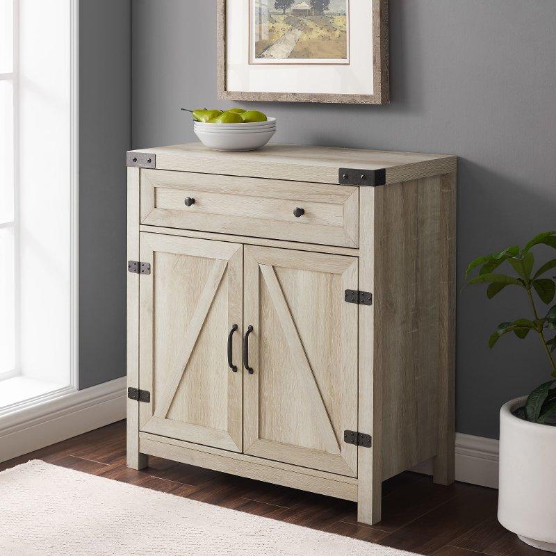 White Oak Farmhouse Accent Cabinet, Oak Barn Furniture