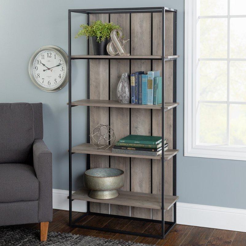 Gray Wash 64 Inch Farmhouse Bookcase Farmhouse Rc Willey Furniture Store