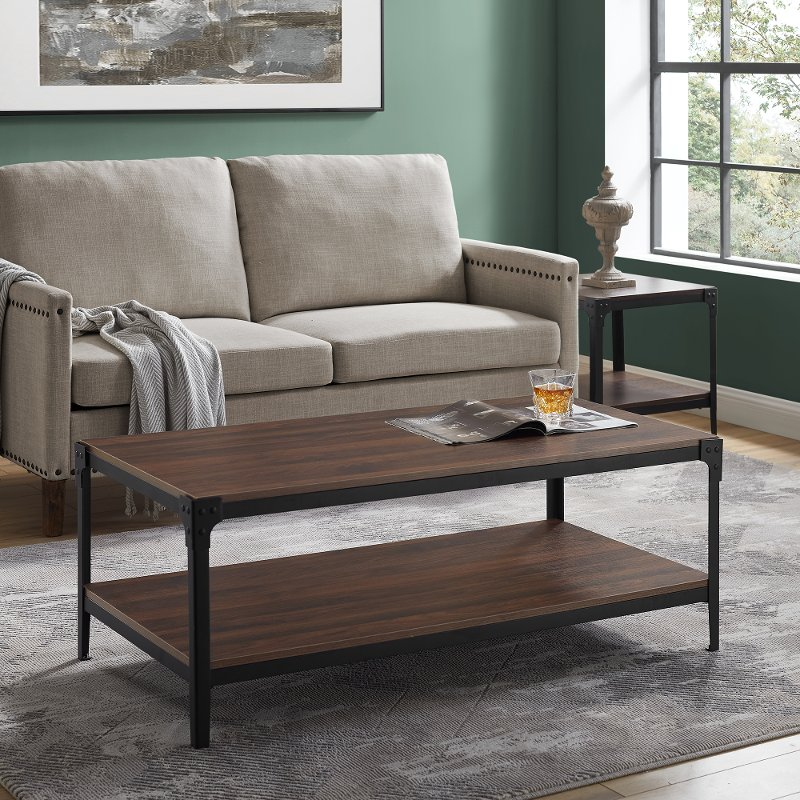 Dark Walnut Rustic Wood Coffee Table Angle Iron Rc Willey Furniture Store