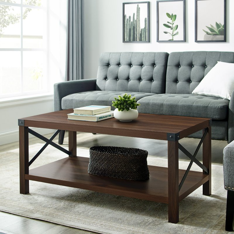 Rustic Dark Walnut Wood Coffee Table Metal X Rc Willey - What Color Should A Sofa Table Be