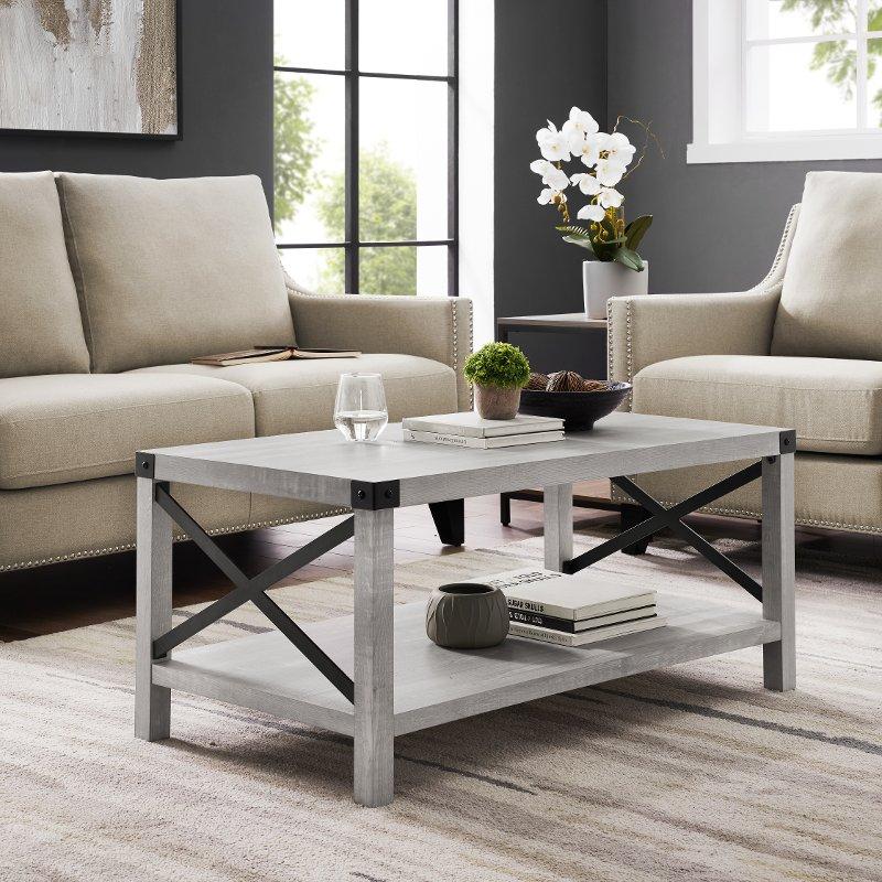 Stone Grey Modern Farmhouse Coffee Table Metal X Rc Willey Furniture Store