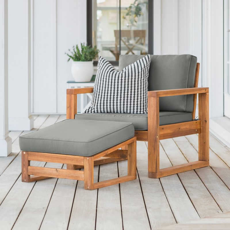 Brown Modern Patio Chair And Ottoman, Patio Chairs With Ottoman