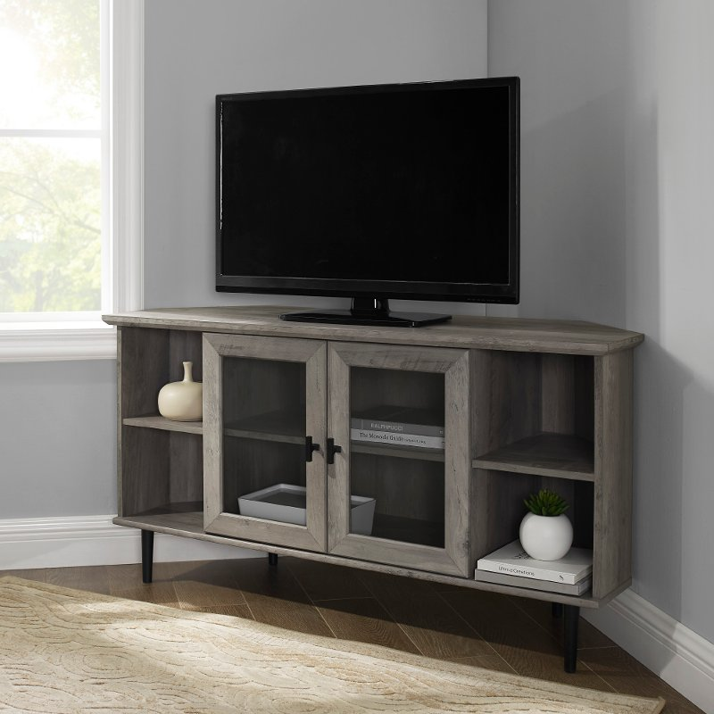Gray Wash 48 Inch Simple Glass Door Corner Tv Stand Rc Willey Furniture Store