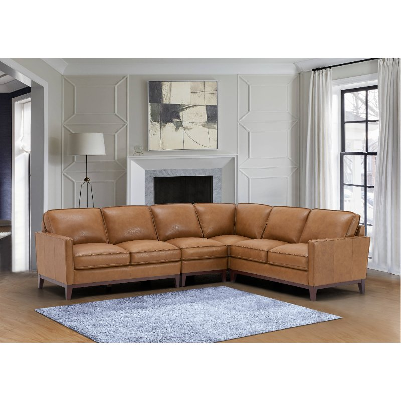 Camel Brown 4 Piece Leather Sectional, Camel Leather Sofa