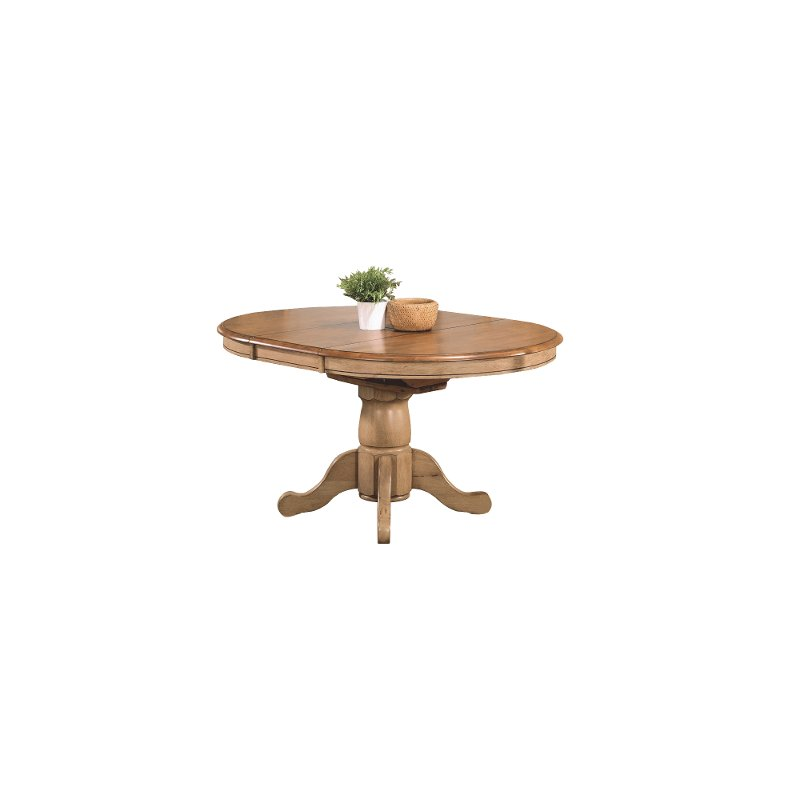 Almond And Wheat Round Dining Room Table Quails Run Rc Willey Furniture Store