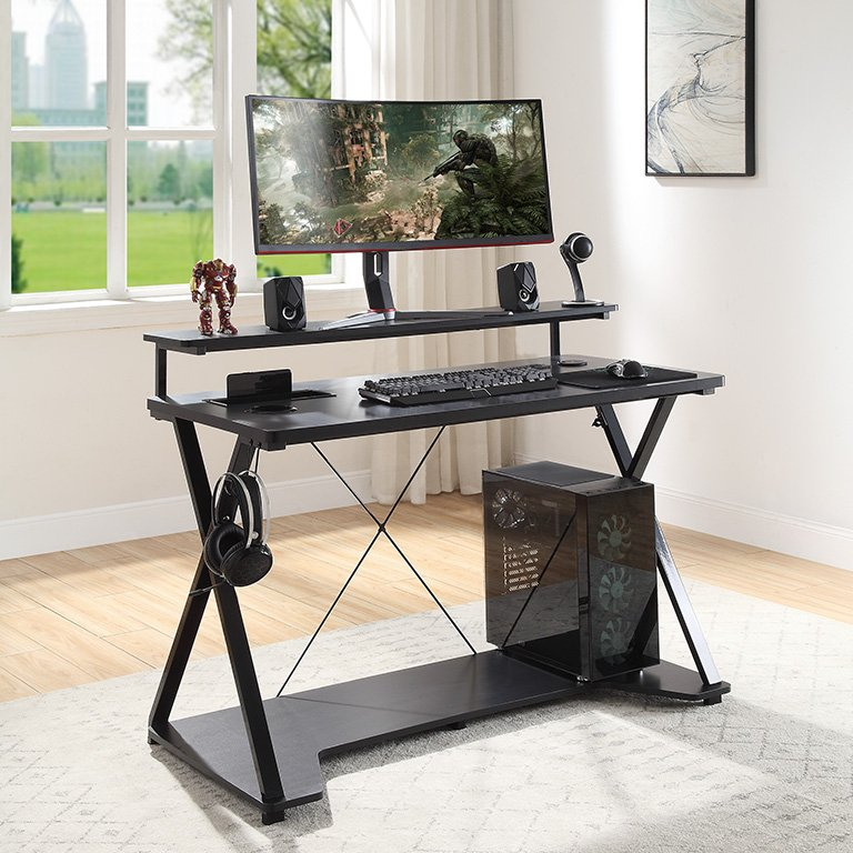 Black 48 Inch Gaming Desk With Rgb Led Lights Checkpoint Ghost Battlestation Rc Willey Furniture Store