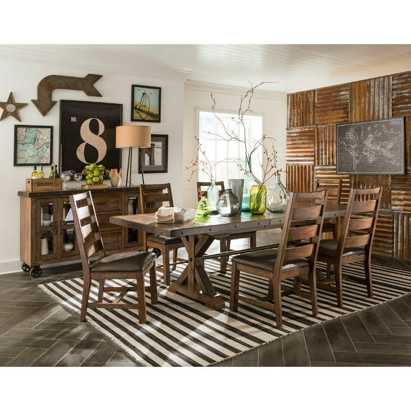 Rustic Brown 5 Piece Dining Room Set, Rustic Dining Room Furniture