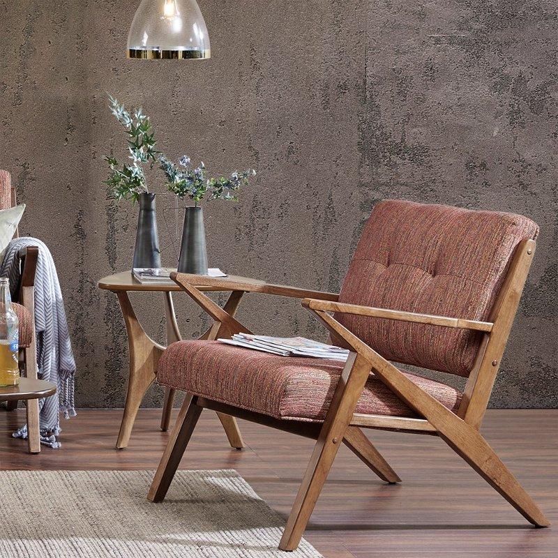 Mid Century Modern Orange Accent Chair, Modern Orange Accent Chair