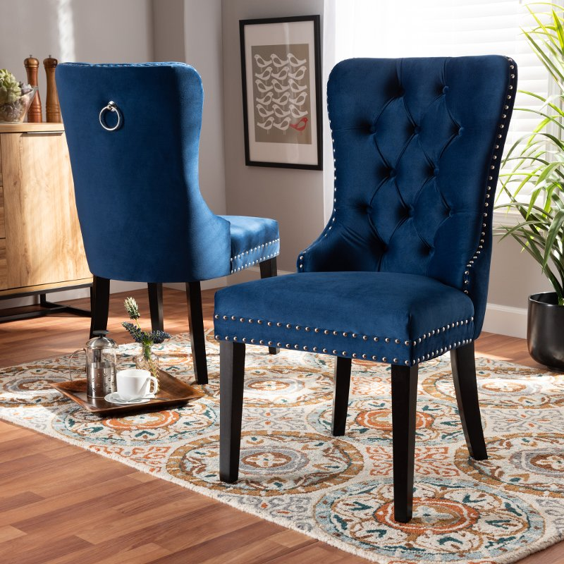 Modern Blue Upholstered Dining Room Chair Set Of 2 Saxon Rc Willey Furniture Store