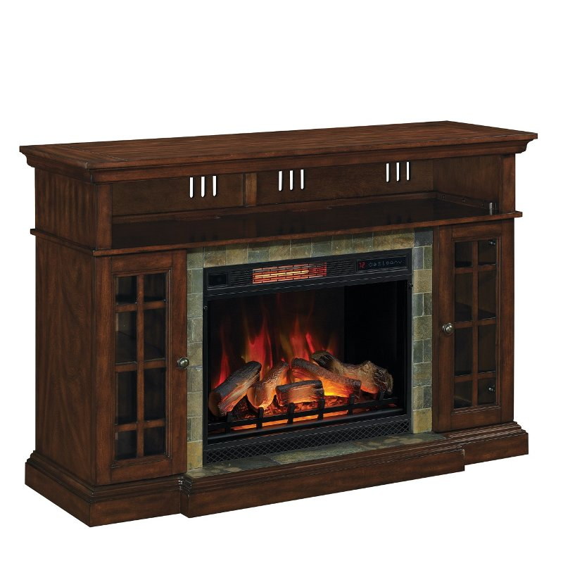 Cherry Brown Fireplace Tv Stand With, Dark Cherry Wood Fireplace Tv Stand