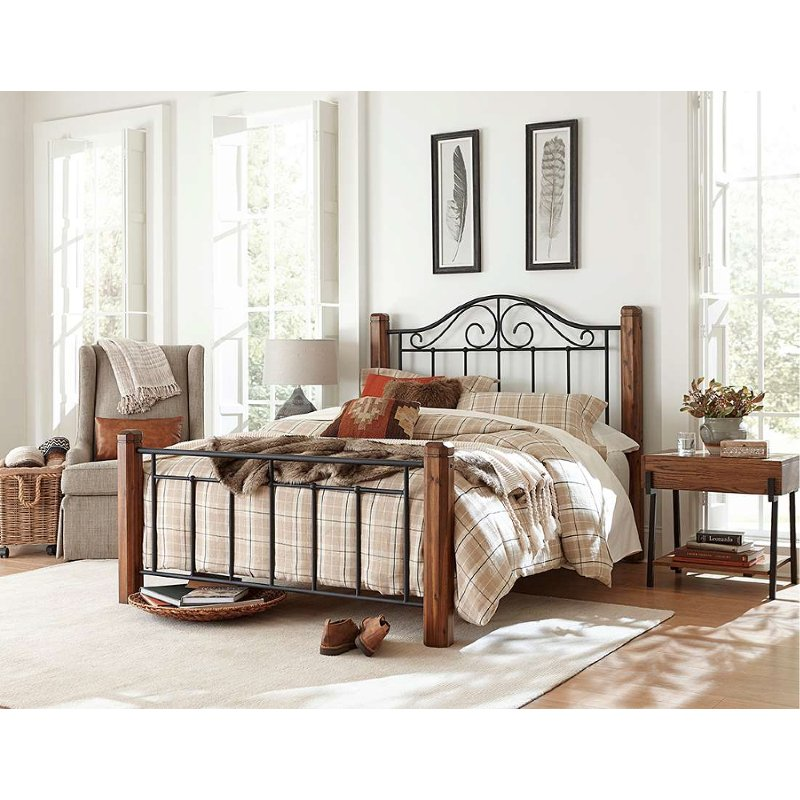 Brown Wood And Black King Metal Bed, Wood Wrought Iron Bedroom Furniture
