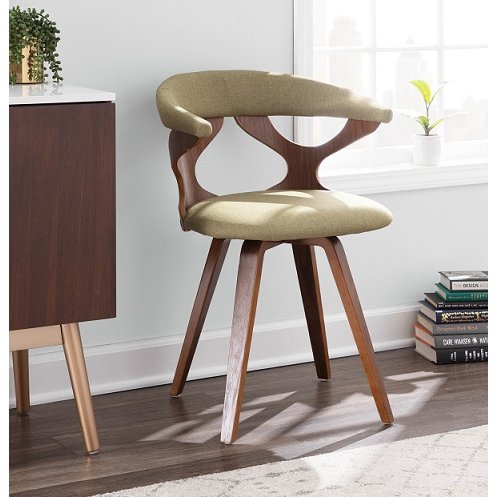 Mid Century Modern Brown And Green Swivel Dining Room Chair Gardenia Rc Willey Furniture Store