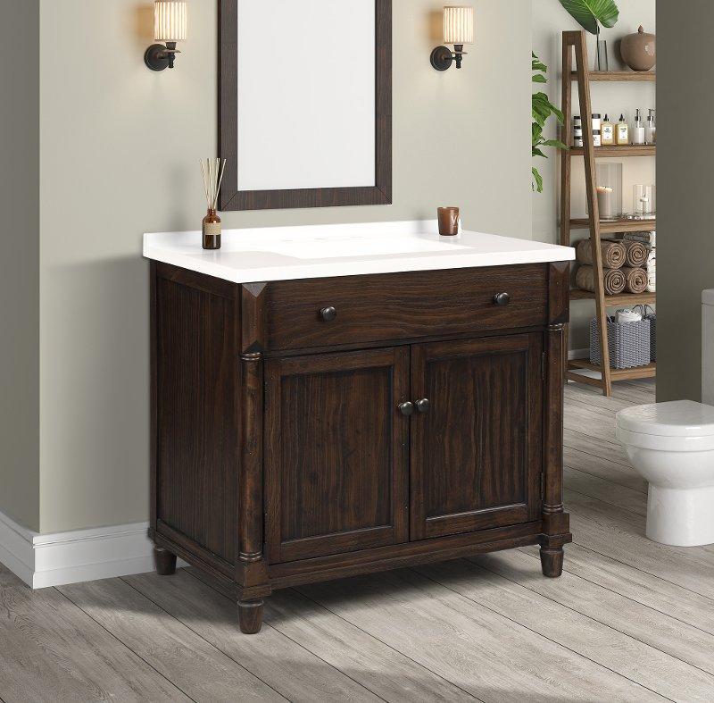 37 Inch Dark Brown Single Bathroom, Dark Brown Wood Bathroom Mirror