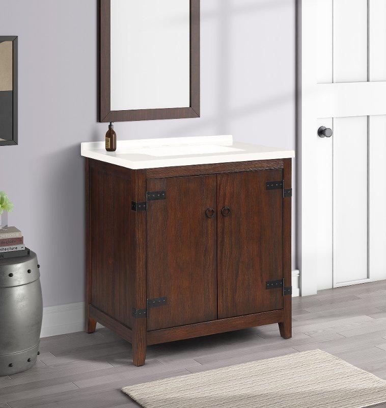 31 Inch Cherry Brown Single Bathroom, Cherry Bathroom Vanities