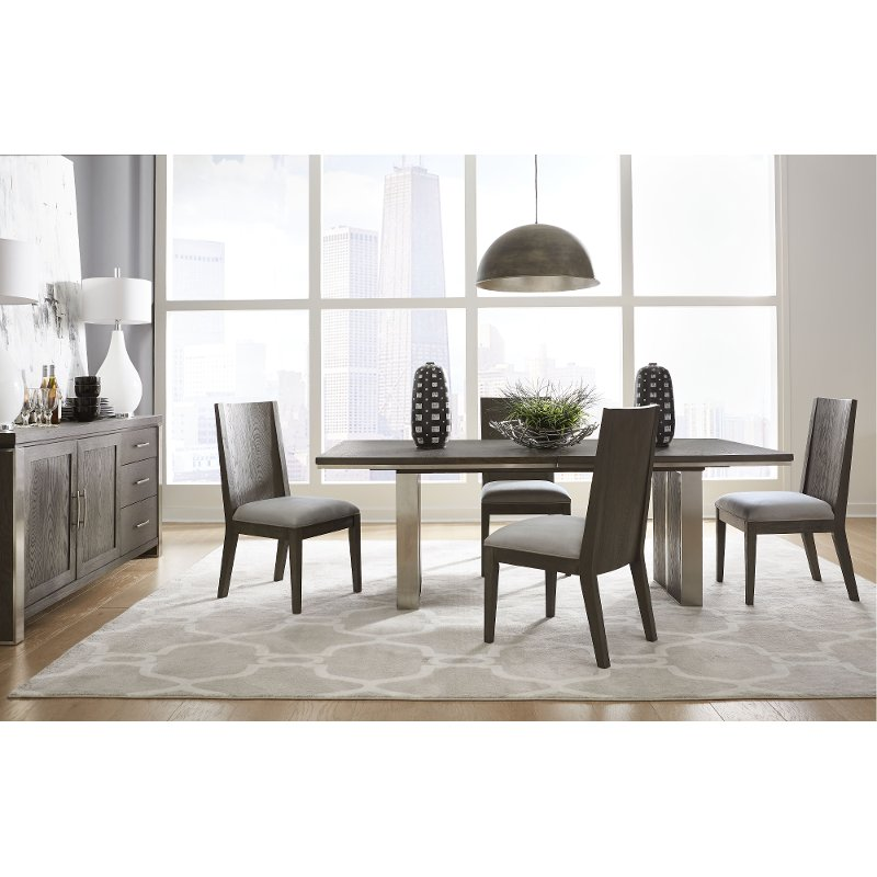 Modern Gray 5 Piece Dining Room Set, Dining Room Table Sets