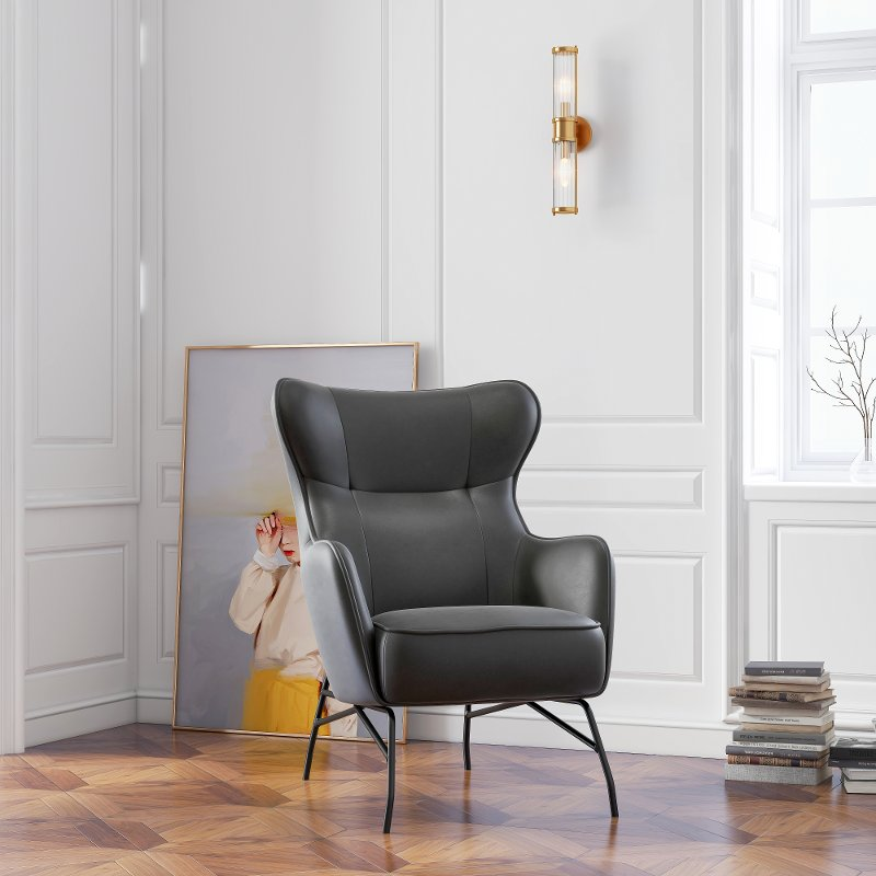 Modern Black Faux Leather Accent Chair, Black Leather Accent Chairs For Living Room