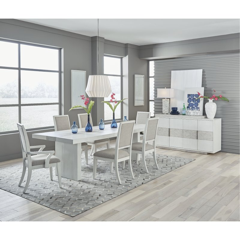 Contemporary White 7 Piece Dining Room, White Dining Room Table
