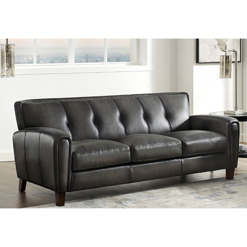 Vintage Ash Gray Leather Sofa, Double Leather Sofa Bed