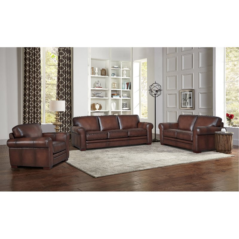 Carmel Brown Leather 3 Piece Living, Leather Living Room