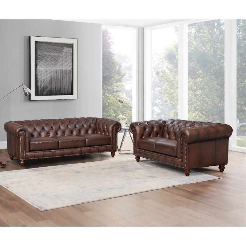 Traditional Brown Leather Sofa And, Leather Loveseat And Sofa
