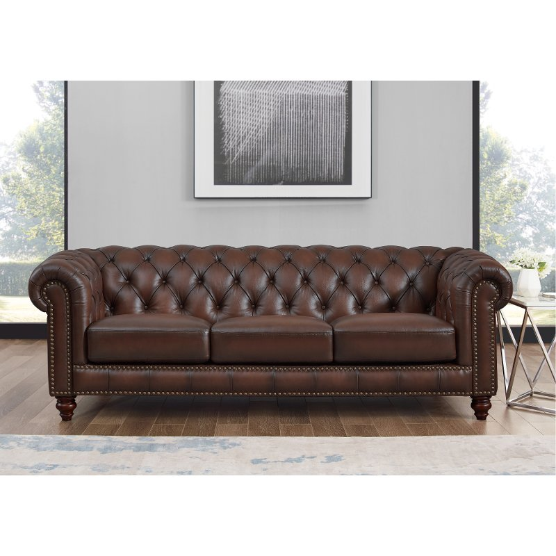 Traditional Brown Leather Sofa, Leather Living Room Furniture