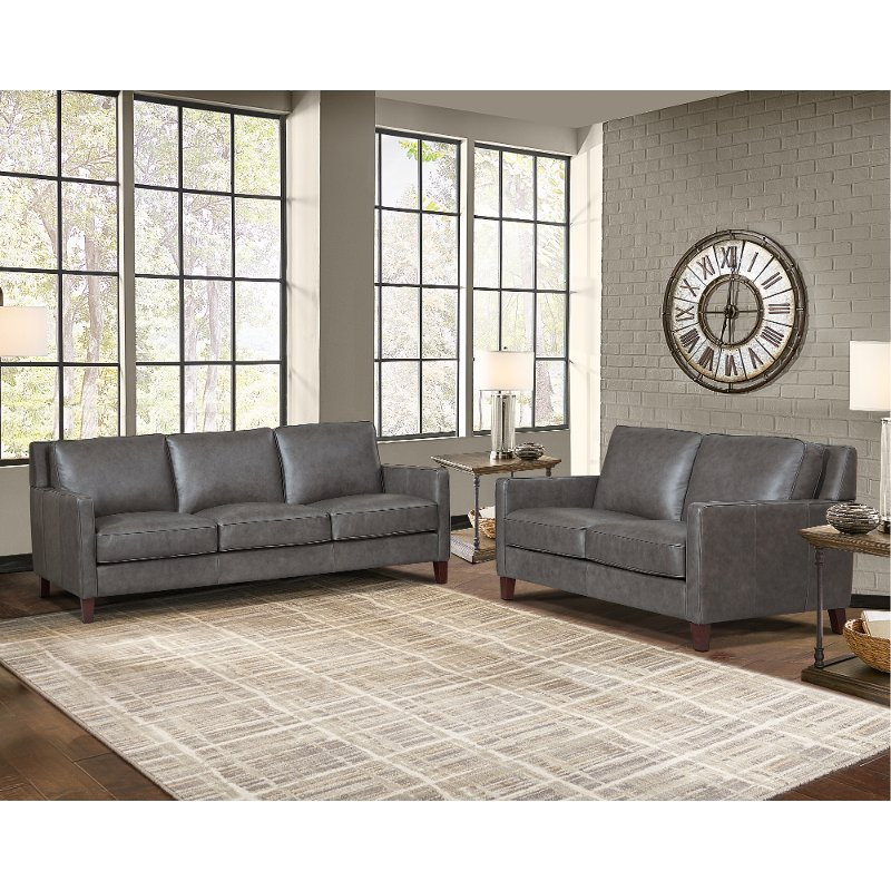 New Haven Ash Gray Leather 2 Piece Sofa, Gray Living Room Sets