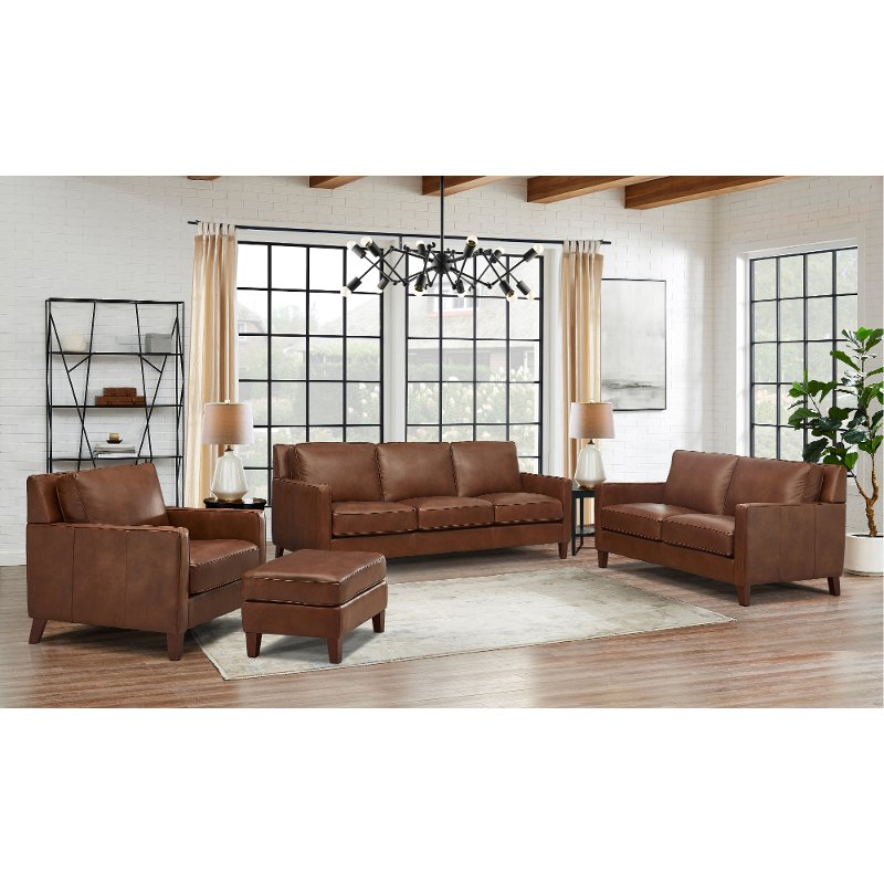 New Haven Brown Leather 4 Piece Living, Living Room Set