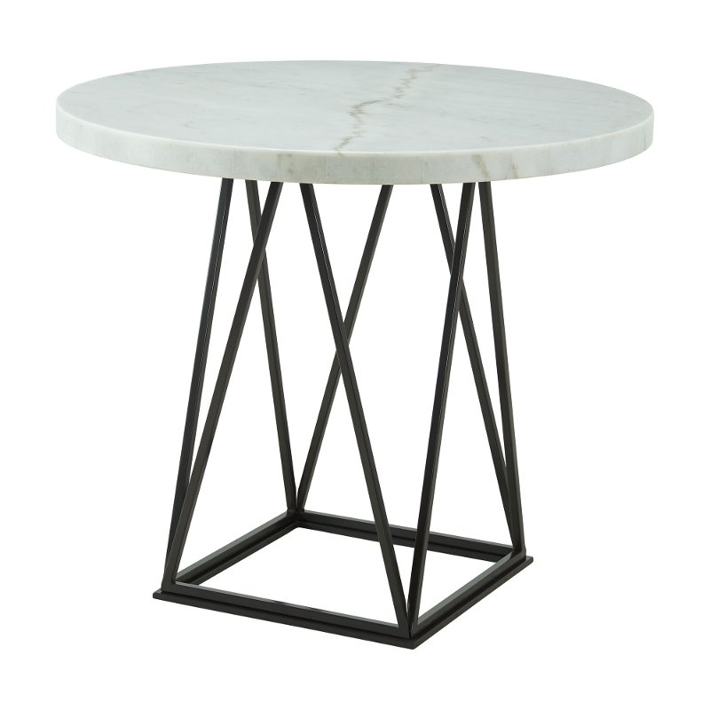 Contemporary White Marble And Metal Round Counter Height Dining Table Rocco Rc Willey Furniture Store