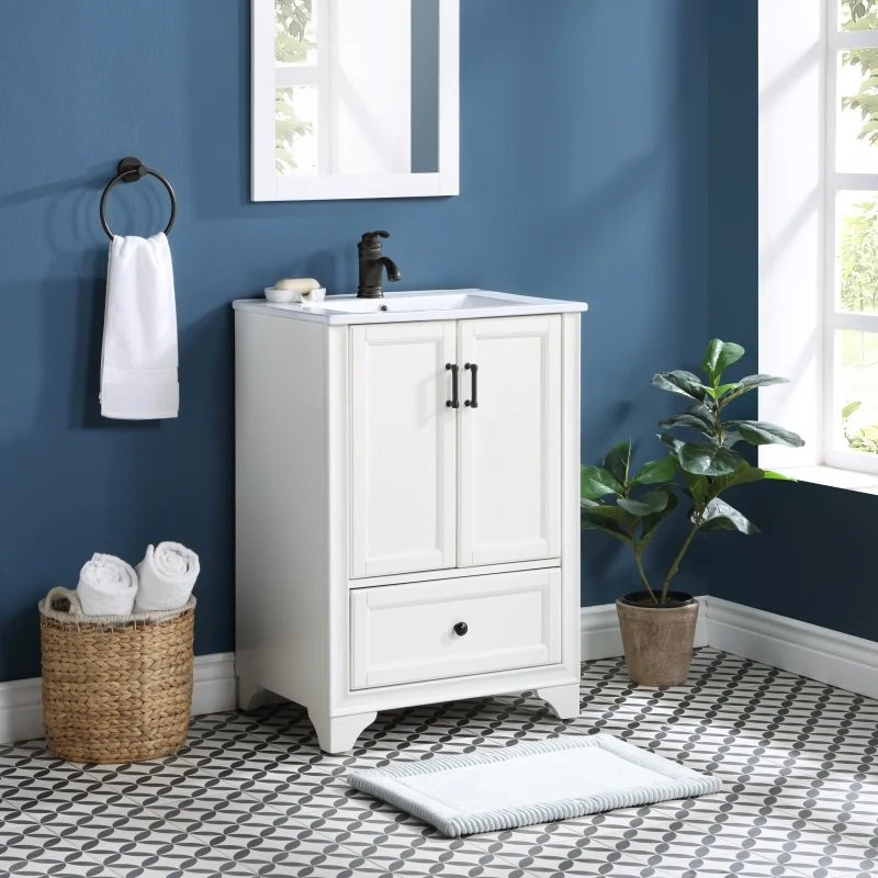 24 Inch White Bathroom Vanity With Sink, 24 Inch Bathroom Vanity With Top And Sink