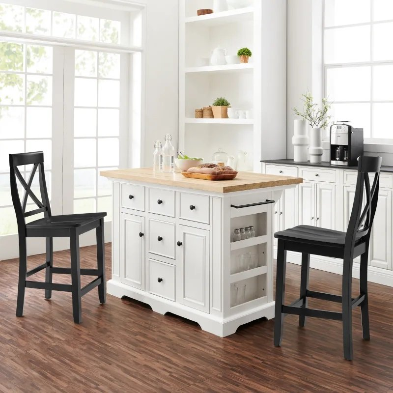White And Black Kitchen Island Stools Julia Rc Willey Furniture Store