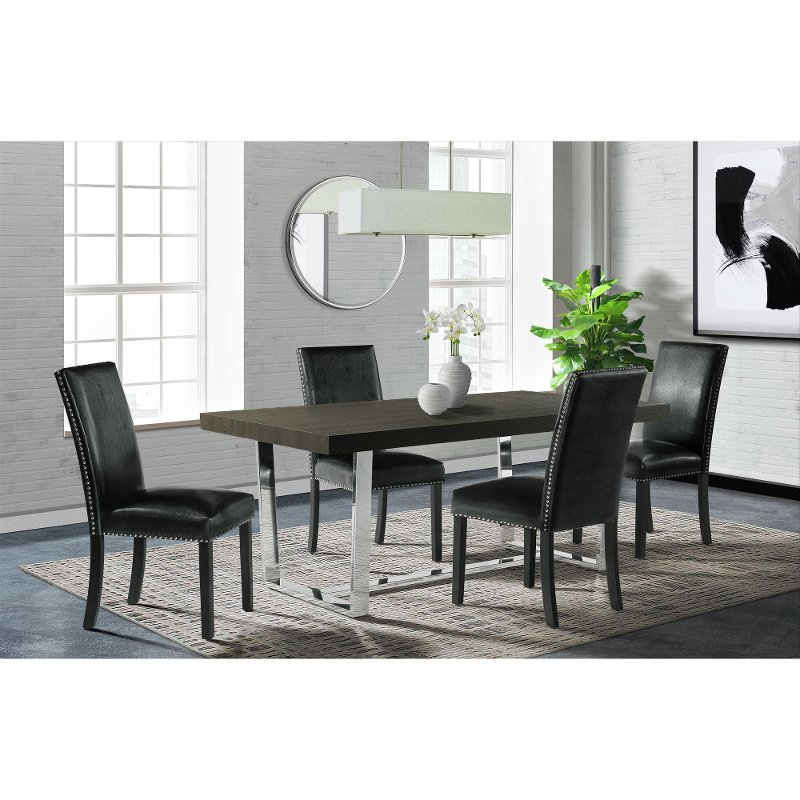Modern Black And Chrome 5 Piece Dining, Black And White Dining Room Set