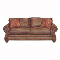 Brown Faux Leather Rustic Traditional Sofa Bed Tahoe Collection RC