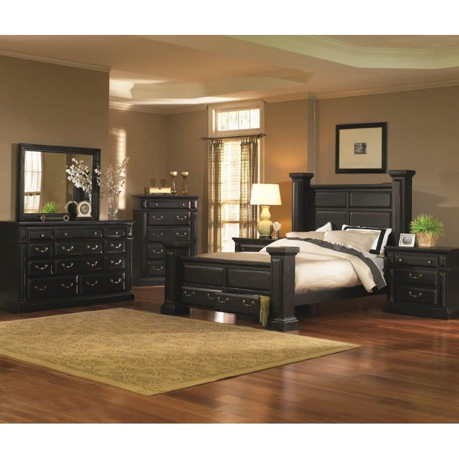 Torreon black 6 piece king bedroom set for Black king bedroom furniture sets