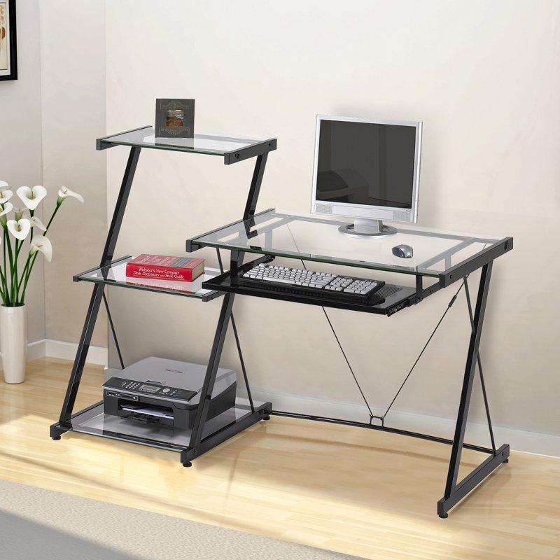 Contemporary Glass Computer Desk With Bookcase