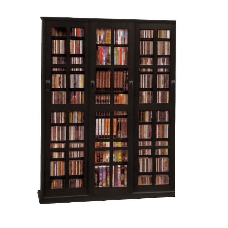 Black 2 Piece Cd Dvd Storage Cabinet With Sliding Doors