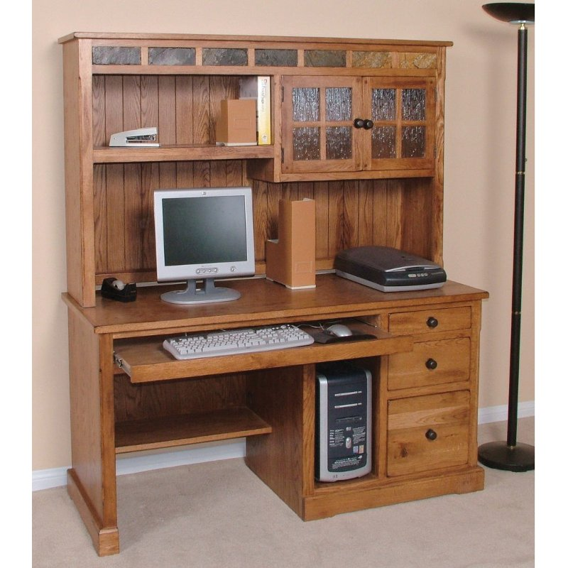 Rustic Light Brown Computer Desk With Hutch Sedona Rc