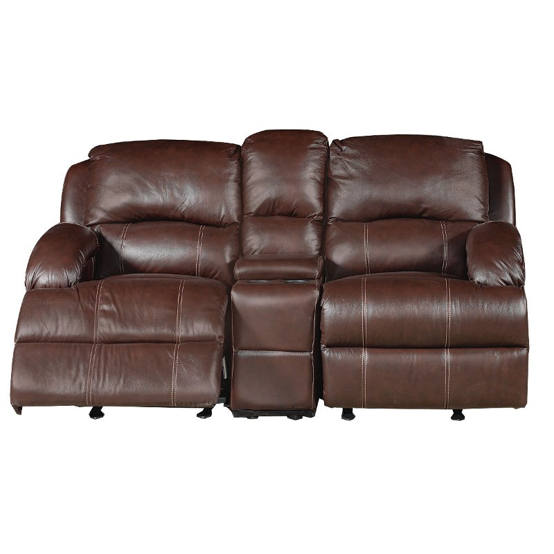 Ashton 75 Brown Leather Reclining Loveseat