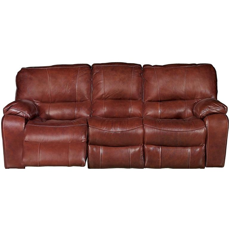 Brown Leather Match Dual Reclining Sofa Cameron