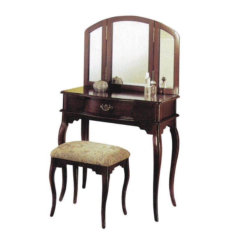 Rc Willey Sacramento: Cherry Vanity Set With Bench And Mirror