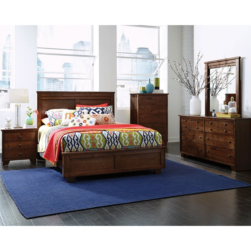 Contemporary Brown 4 Piece Queen Bedroom Set - Diego