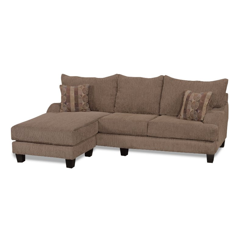 Laguna brown upholstered caual sofa chaise for Brown chaise lounge sofa