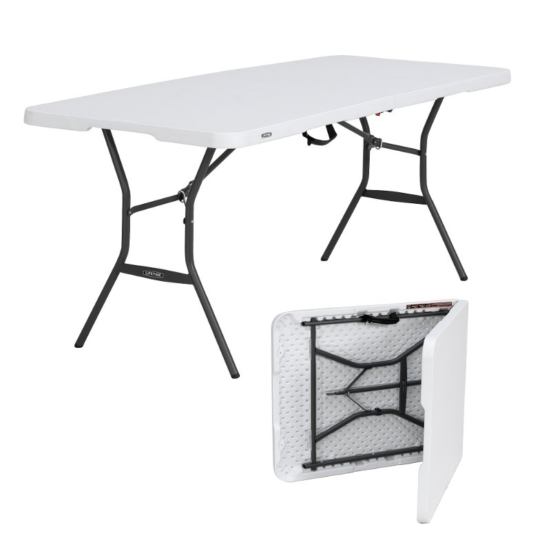 lifetime 6 foot fold in half folding table rc willey furniture store. Black Bedroom Furniture Sets. Home Design Ideas