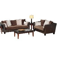 Chocolate Two Tone Microfiber 2 Piece Room Group Rc