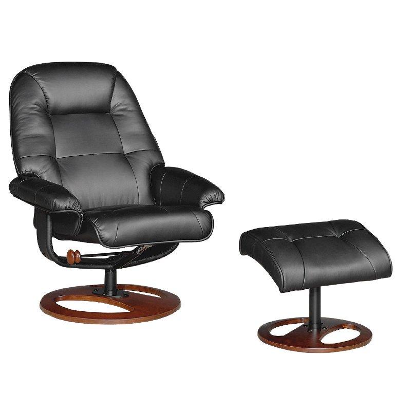 manhattan 31 black upholstered swivel recliner ottoman