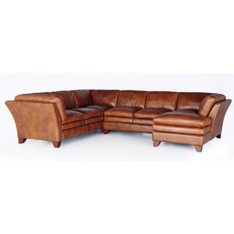 Camel Brown Leather 3 Piece Sectional Sierra Rc Willey