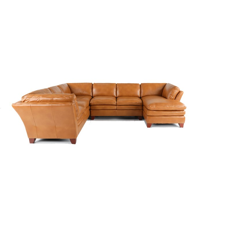 Camel Leather 3 Piece Sectional